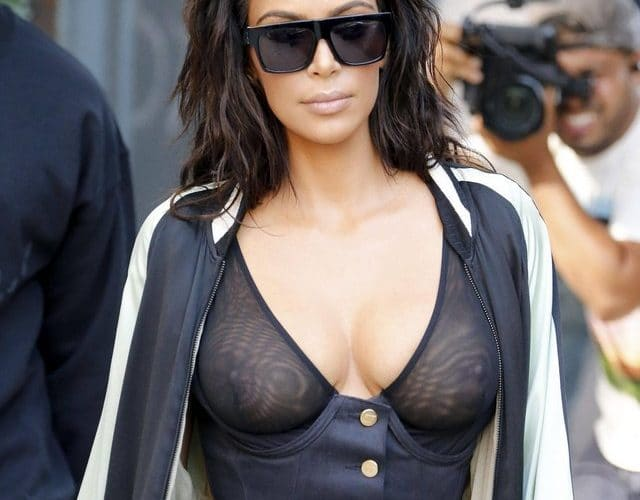 Kim Kardashian sheer top with pokies