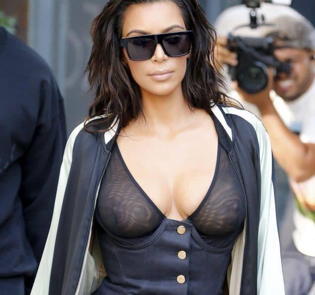 Kim Kardashian sheer top with pokies